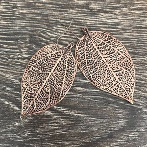 Copper Color Detailed Leaf Earrings